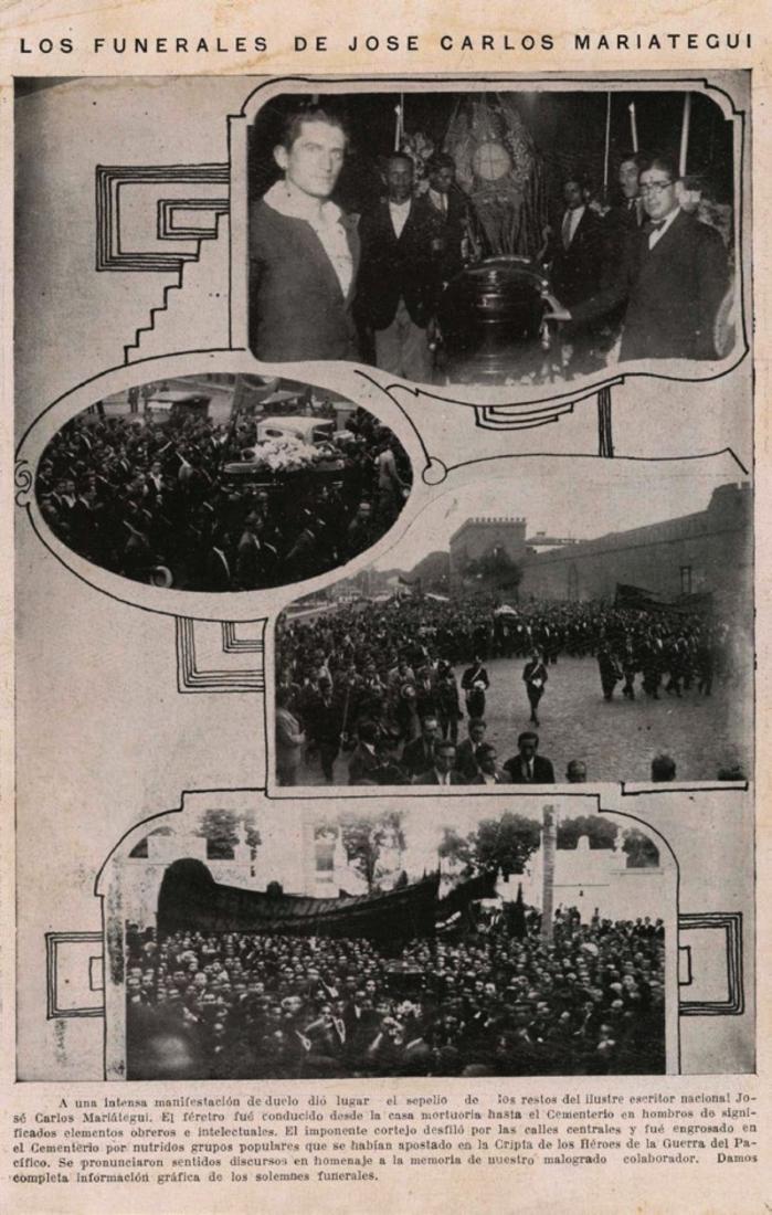 """Figura 4. """"Los funerales de José Carlos Mariátegui"""". Variedades (1930), abril. Archivo José Carlos Mariátegui."""