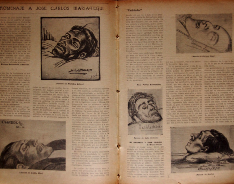 Figura 6. «Homenaje a José Carlos Mariátegui» (1930) [recorte de prensa]. Variedades, abril. Archivo Servais Thissen.