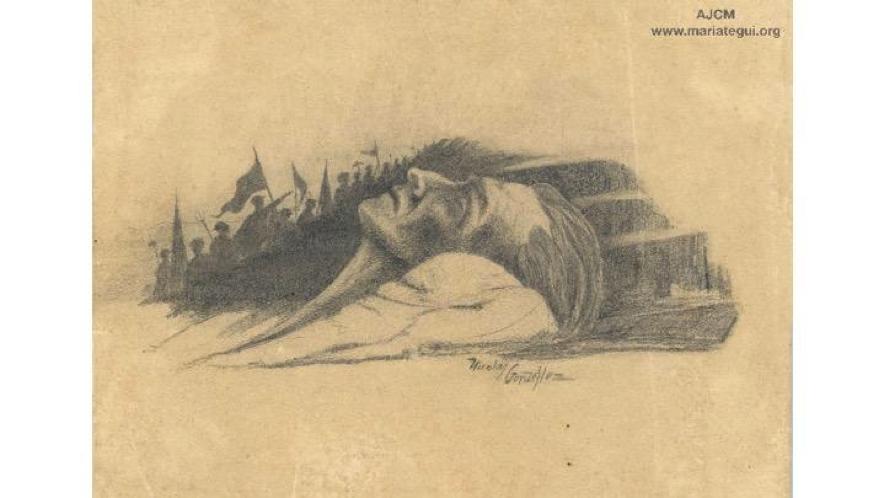 Figura 9. Símbolo, de Nicolás González (1930). Carboncillo sobre papel, 19,7 x 14 cm. Archivo José Carlos Mariátegui.